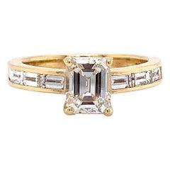 Vintage GIA 1.01 Carat Diamond Yellow Gold Engagement Ring