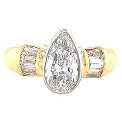 Vintage GIA 1.02 Carat Pear Shape Diamond Engagement Ring