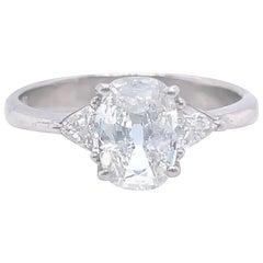 Vintage GIA 1.51 Carat Antique Cushion Cut Platinum Engagement Ring