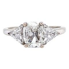 Vintage GIA 1.51 Carat Cushion Cut Diamond White Gold Engagement Ring