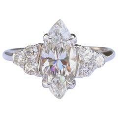 Vintage GIA 1.53 Carat Marquise Cut Diamond Gold Engagement Ring
