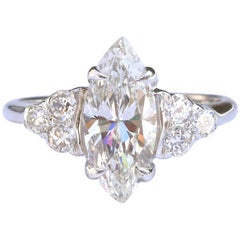Vintage GIA 1.53 Carat Marquise Cut Diamond Gold Ring