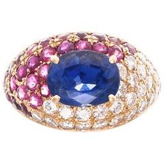 Vintage GIA 1.80 Carat Ceylon Sapphire Diamond Ruby 18 Karat Gold Pavé Ring