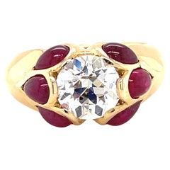 Vintage GIA 2.12 Carat Old Euro Cut Diamond Ruby 18 Karat Gold Engagement Ring