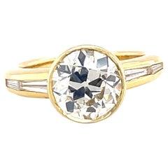 Vintage GIA 2.33 Carat Old European Cut Diamond 18 Karat Gold Engagement Ring