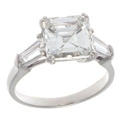 Vintage GIA 2.38 Carat Diamond Platinum Engagement Ring