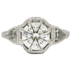 Vintage GIA 2.56 Carat Diamond Ring Round and Triangle 3-Stone Stunner