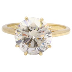 Vintage GIA 4.06 Carat 18 Karat Solitaire Engagement Gold Ring