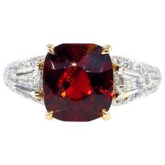 Vintage GIA 4.75ct Natural Deep Red Garnet Cushion 3-Stone Diamond 18k Ring