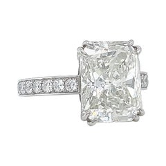 Vintage GIA 6.30 Radiant Cut Engagement Ring Solitaire