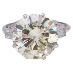 Vintage GIA 7.10 Carat Round Brilliant Cut Diamond Platinum Ring