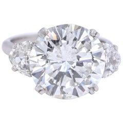 Vintage GIA 7.97 Carat Brilliant Cut Diamond Platinum Ring