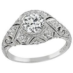 Vintage GIA Certified 0.63 Carat Diamond Engagement Ring