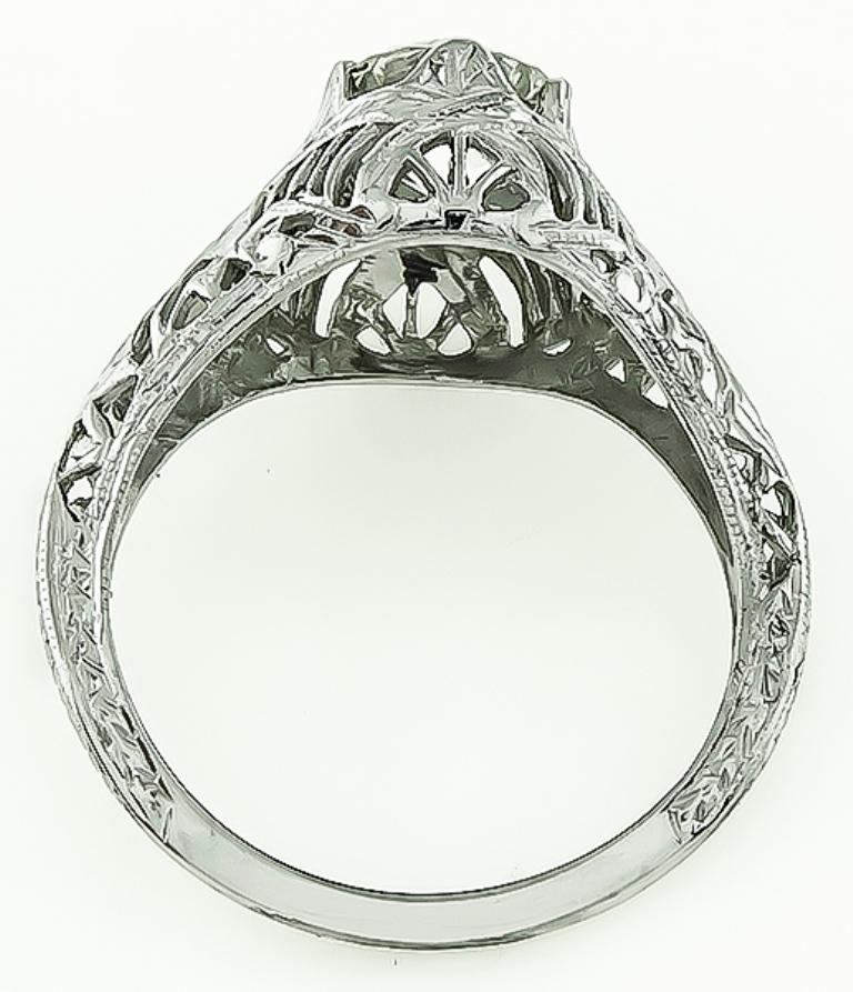 Edwardian Vintage GIA Certified 1.07 Carat Diamond Engagement Ring For Sale