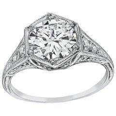 Vintage GIA Certified 1.57 Carat Diamond Engagement Ring