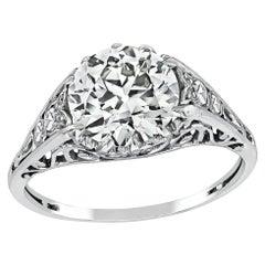 Vintage GIA Certified 2.12 Carat Diamond Platinum Engagement Ring