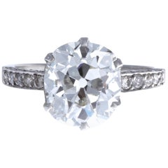 Vintage GIA Certified 4.31 Carat Antique Cushion Cut Diamond Platinum Ring