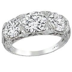 Vintage GIA Certified Diamond Platinum Anniversary Ring