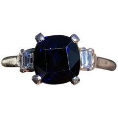 Vintage GIA Ceylon Platinum Natural Sapphire and Diamond Ring 2.47 Carat 3.7g