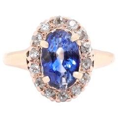 Vintage GIA Ceylon Sapphire Diamond 14 Karat Gold Cluster Ring