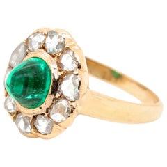 Vintage GIA Columbian Emerald 18 Karat Gold Cluster Ring