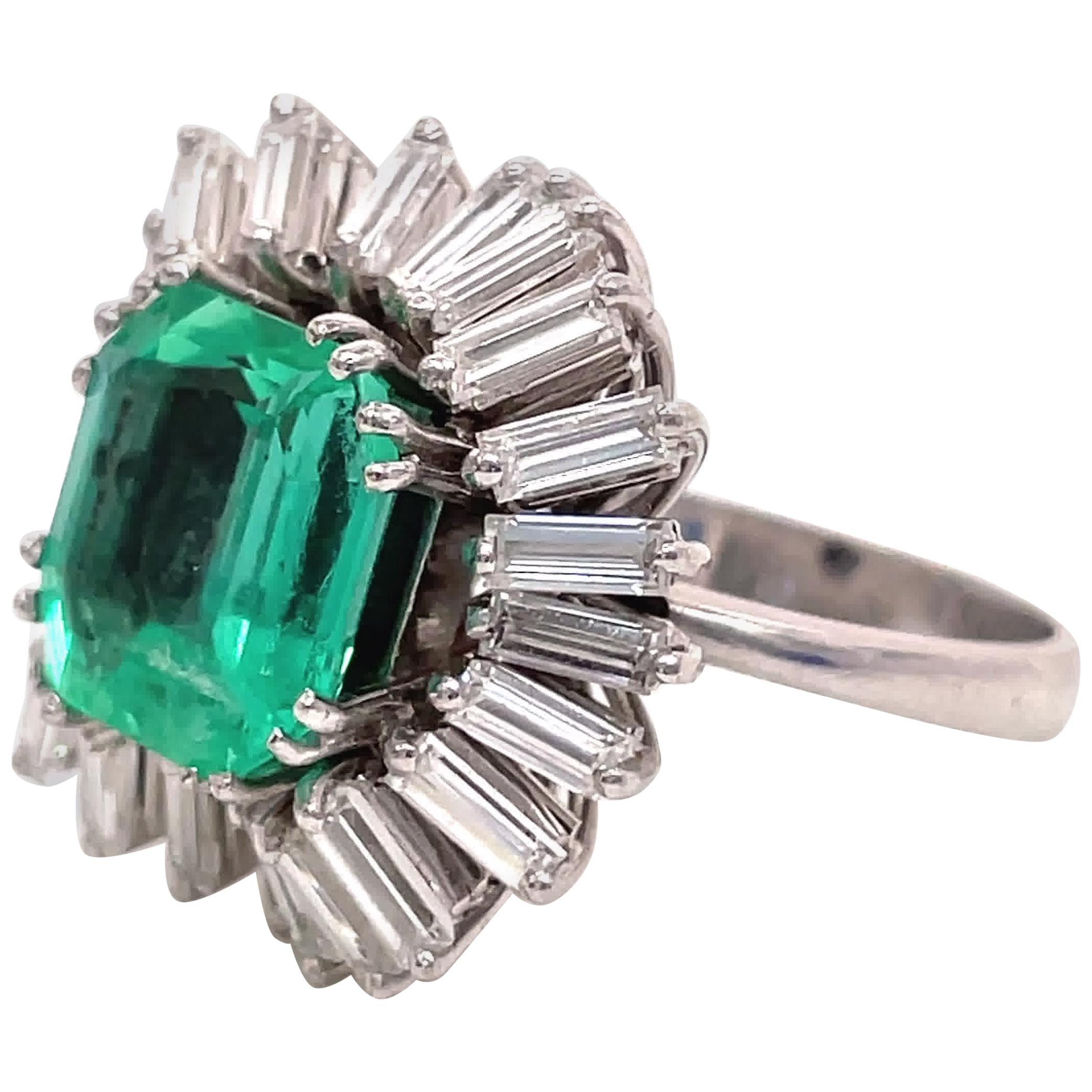 Vintage GIA Columbian Step Cut Emerald Diamond Platinum Ballerina Cluster Ring