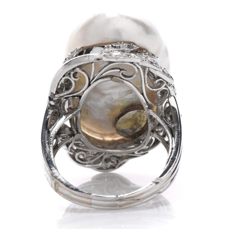 Art Deco Vintage GIA Diamond Baroque White Pearl Platinum Large Cocktail Ring For Sale