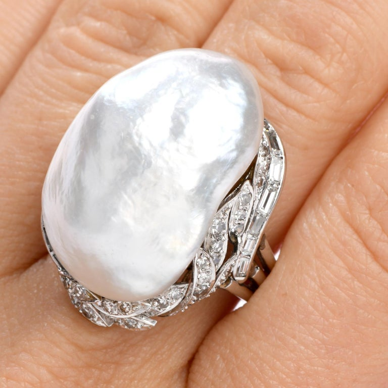 Vintage GIA Diamond Baroque White Pearl Platinum Large Cocktail Ring In Excellent Condition For Sale In Miami, FL