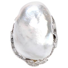 Vintage GIA Diamond Baroque White Pearl Platinum Large Cocktail Ring