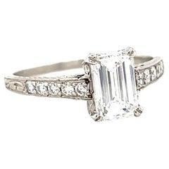 Vintage GIA Diamond Platinum Engagement Ring