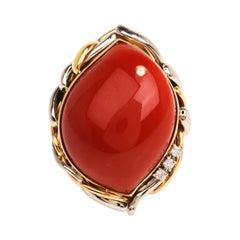Vintage GIA Natural Red Coral Diamond Platinum 18k Gold Retro Cocktail Ring