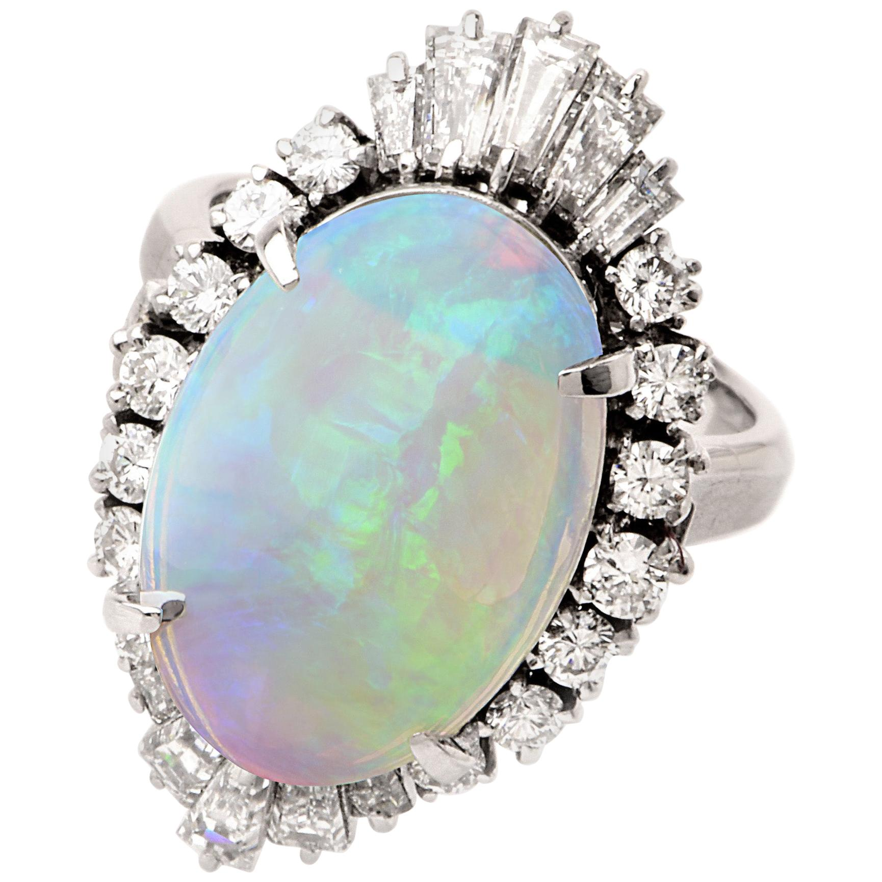 Vintage GIA Opal Diamond Cocktail Platinum Ring