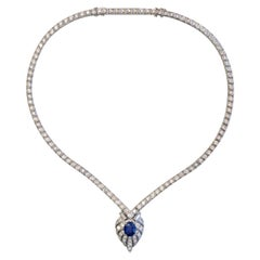 Vintage GIA Sapphire and Diamond Necklace in Platinum