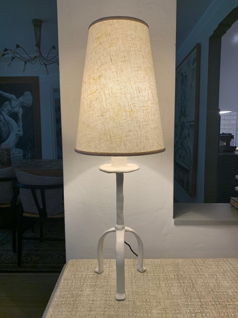 Vintage Giacometti Inspired Plaster Table Lamp For Sale 5