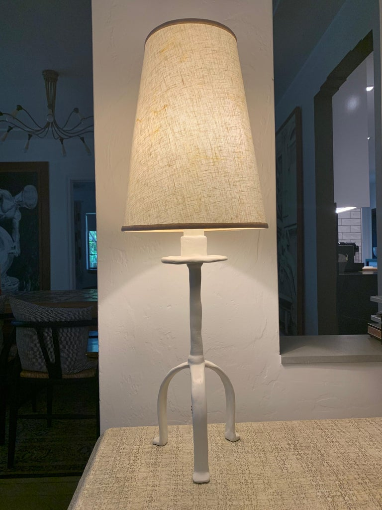 Tribal Vintage Giacometti Inspired Plaster Table Lamp For Sale