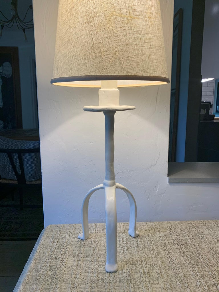 Vintage Giacometti Inspired Plaster Table Lamp For Sale 4