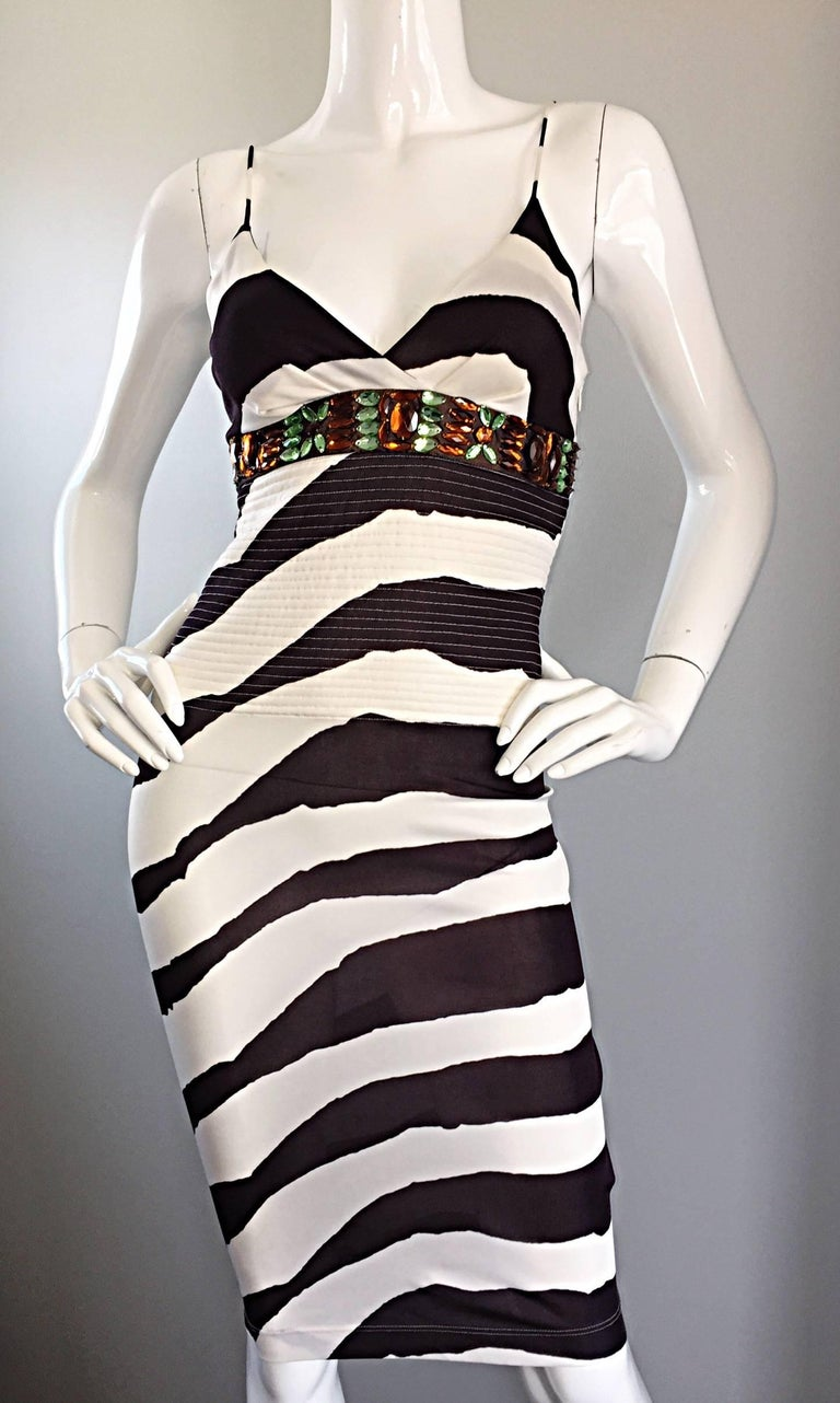 Beige Vintage Gianfranco Ferre 1990s Brown + White Zebra Jeweled BodyCon Jersey Dress For Sale