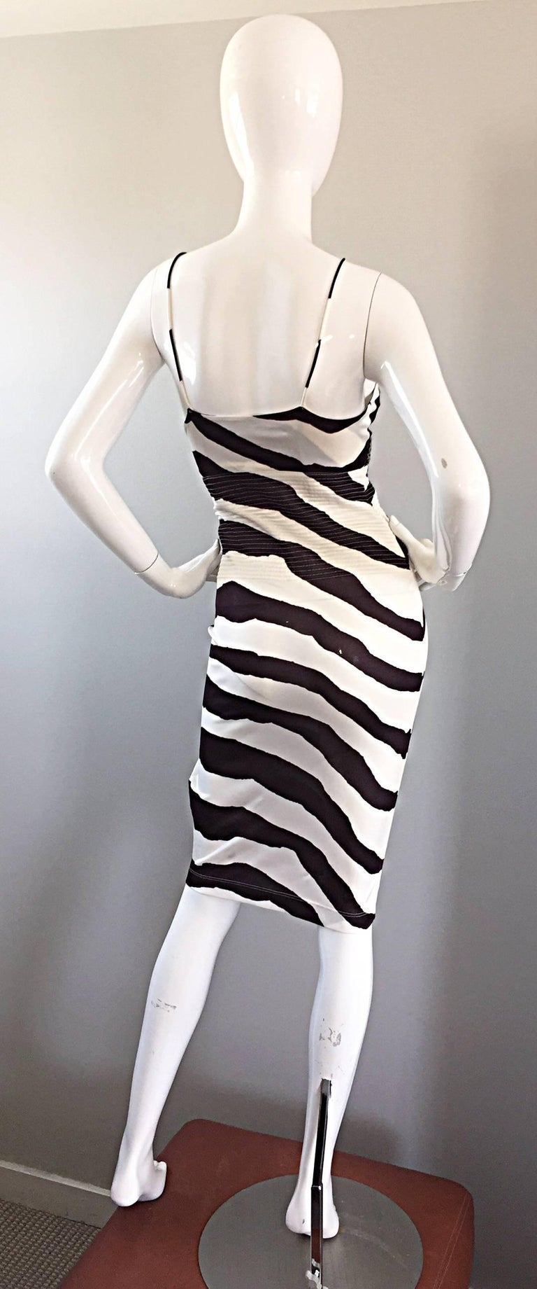 Vintage Gianfranco Ferre 1990s Brown + White Zebra Jeweled BodyCon Jersey Dress In Excellent Condition For Sale In Chicago, IL