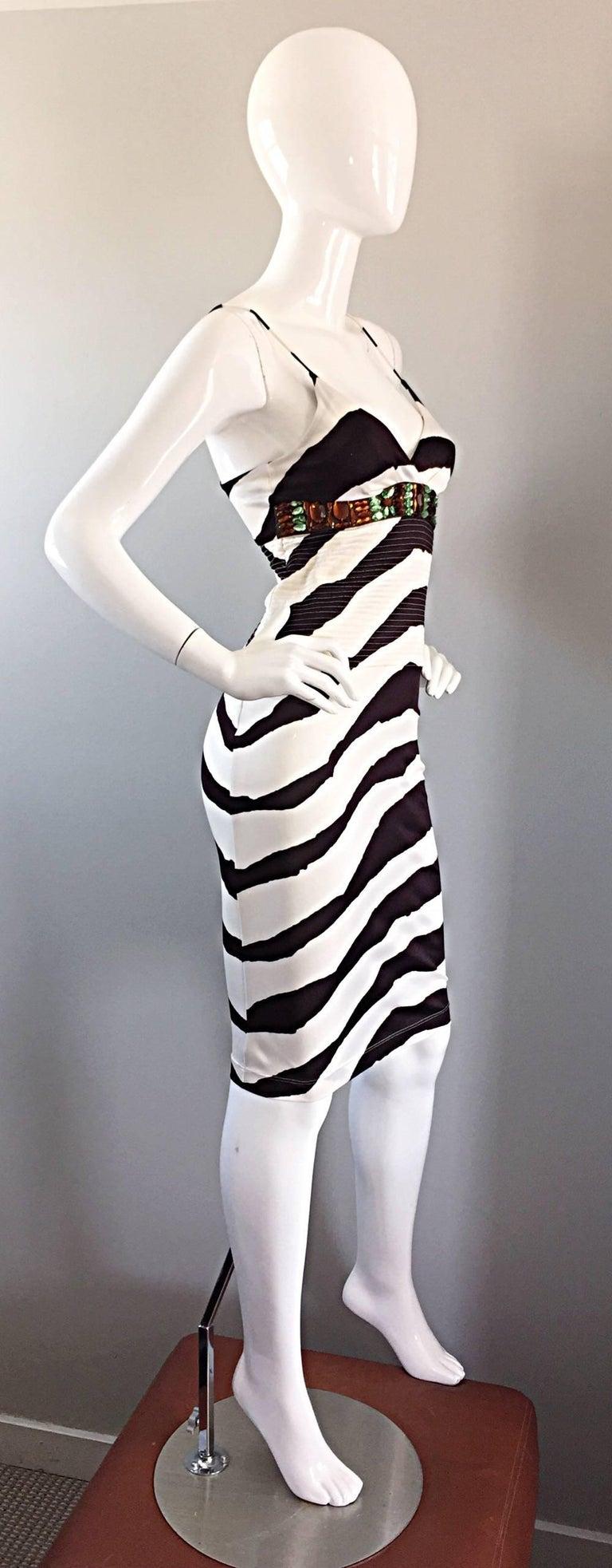 Women's Vintage Gianfranco Ferre 1990s Brown + White Zebra Jeweled BodyCon Jersey Dress For Sale
