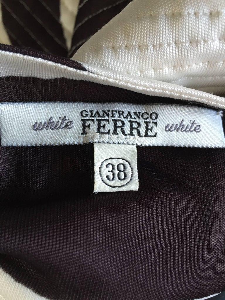 Vintage Gianfranco Ferre 1990s Brown + White Zebra Jeweled BodyCon Jersey Dress For Sale 3