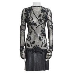 Vintage Gianni Versace 90s black bodice sheer net embellished with leather dress