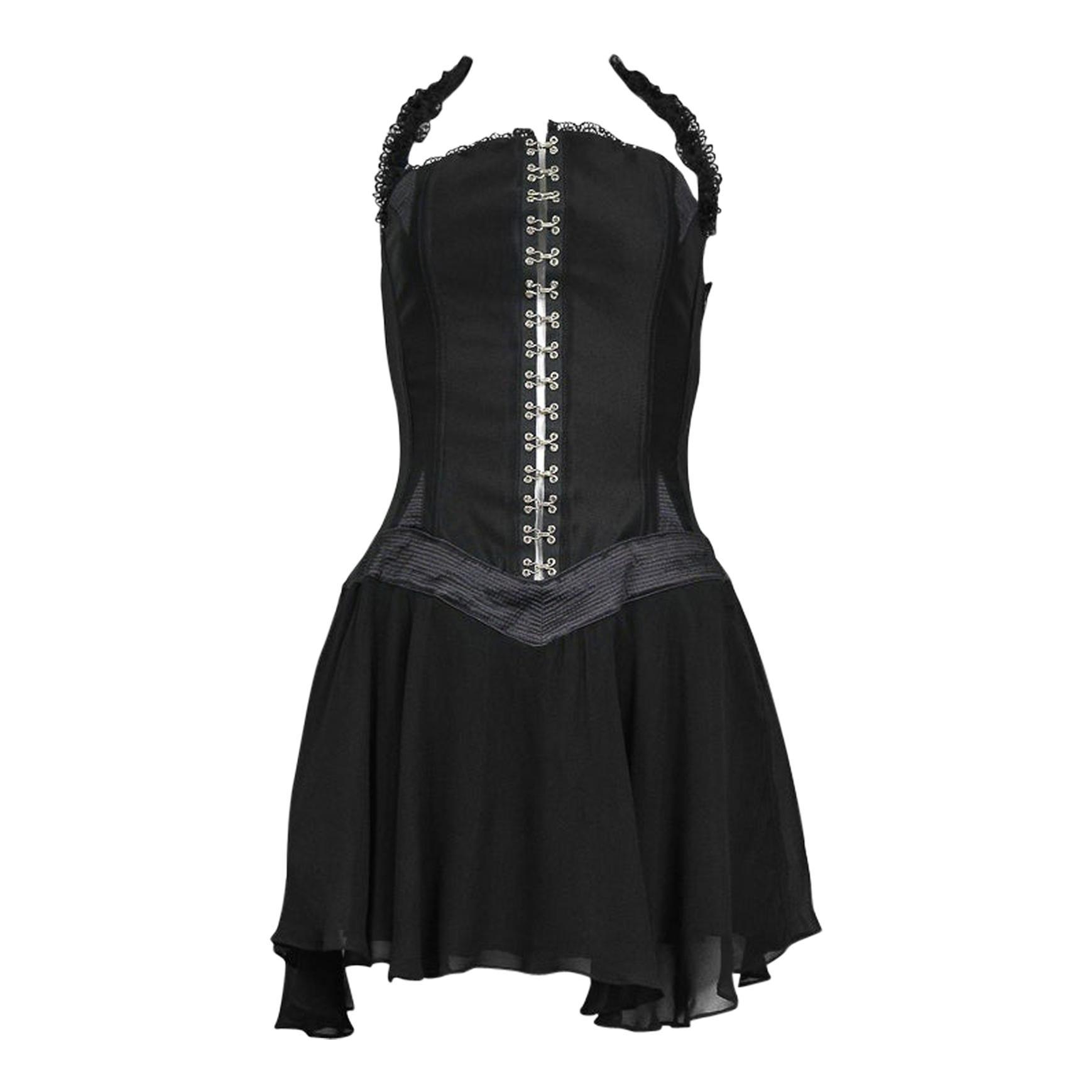 Vintage Gianni Versace Black Corset Dress 1995