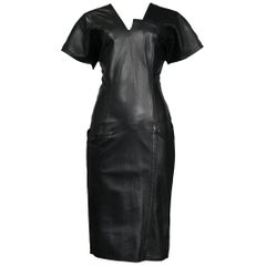 Vintage Gianni Versace Black Leather Architectural Dress