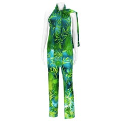 Vintage Gianni Versace Couture Runway S/S 2000 Jungle Print Silk Pant Suit It 44