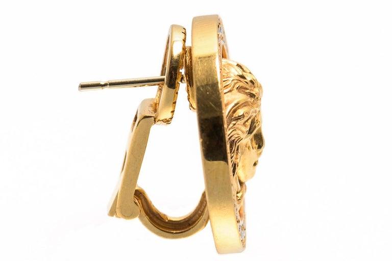 Art Nouveau Medusa Earrings by Gianni Versace 18k Gold, Diamonds, Black Enamel, Italian 1980 For Sale