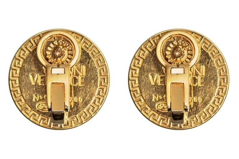 Round Cut Medusa Earrings by Gianni Versace 18k Gold, Diamonds, Black Enamel, Italian 1980 For Sale