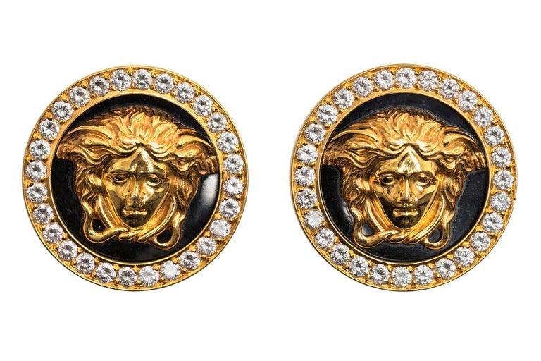 Women's Medusa Earrings by Gianni Versace 18k Gold, Diamonds, Black Enamel, Italian 1980 For Sale