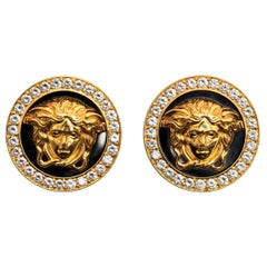 Medusa Earrings by Gianni Versace 18k Gold, Diamonds, Black Enamel, Italian 1980