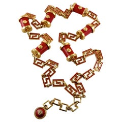 Vintage GIANNI VERSACE Iconic Medusa Red Leather Enamel Chain Medallion Necklace
