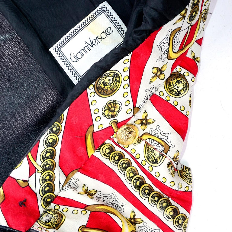 Vintage Gianni Versace Leather Coat With Tassels and Silk Scarf Print Lining For Sale 5